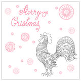 Christmas card with hand drawn decorated  rooster. Festive Christmas card with hand drawn calligraphical text Merry Christmas, decorated rooster, symbol of 2017 Royalty Free Stock Photo