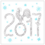 Christmas card with hand drawn decorated 2017 and rooster. Festive New Year 2017 card with hand drawn decorated rooster, symbol of 2017, numerics 2017, snowflake Royalty Free Stock Images