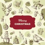 Christmas card hand drawn design Stock Photography