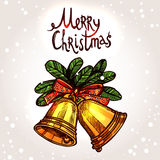 Christmas Card With Hand Drawn Golden Bells Stock Photography