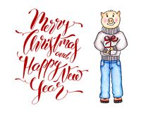 Christmas Card 2019 with Hand Drawn Pig and Greeting Calligraphy Writing. Merry Christmas and Happy New Year Card. Pig Year. Christmas Card 2019 with Color royalty free illustration