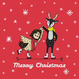 Christmas card with hand drawn reindeer and owl skate. Royalty Free Stock Image