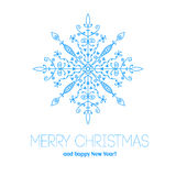 Christmas card with hand drawn snowflake Royalty Free Stock Photos