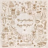 Christmas card with hand-drawn snowflakes, snowman, lanterns, gift boxes and candles. Vector sketch illustration. Doodle. Christmas card Stock Image