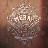 Christmas card with hand drawn typography, handwriting Royalty Free Stock Images