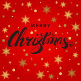 Christmas card with hand lettering on red  background. Christmas hand lettering with golden  snowflakes on red  background. Vector greeting  card Royalty Free Stock Photos