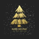 Christmas background with golden fir-tree. Christmas card with hand painted Christmas tree with golden gradient and inscription on black background. Vector Royalty Free Illustration