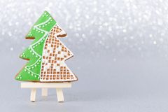 Christmas card with handmade gingerbread tree and copy space Royalty Free Stock Photo