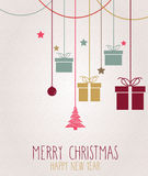 Christmas card. Hanging colorful presents Stock Images