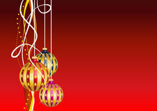 Christmas card with hanging decorations. On a red background/ Christmas background Stock Illustration