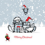 Christmas card with happy cats family royalty free illustration