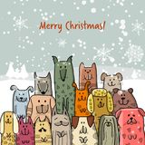 Christmas card with happy dogs family. Vector illustration Royalty Free Stock Images