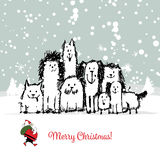 Christmas card with happy dogs family Royalty Free Stock Photos