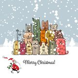 Christmas card with happy dogs family. Vector illustration Stock Photos