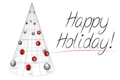 Christmas card - Happy Holiday. 3D modern, geometrical Christmas tree with baubles on white background, `Happy Holiday!` wishes Royalty Free Stock Photos
