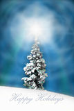 Christmas Card ' Happy Holidays ' - Christmas tree art 7. A christmas tree covered in snow as an artistic impression with happy holidays stock illustration