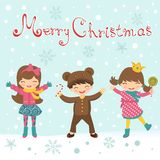 Christmas card with happy kids Royalty Free Stock Photography