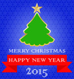 Christmas card. Happy New Year. Blue background with snowflakes, green tree and red ribbon Stock Image