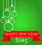 Christmas card. Happy New Year. Green background with snowflakes, white balls and red ribbon Royalty Free Stock Images