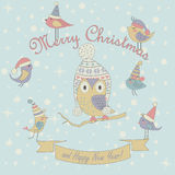 Christmas card. Christmas and Happy New Year greeting card with cute birds and owl in winter caps. Cartoon style royalty free illustration