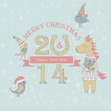 Christmas card. Christmas and Happy New Year greeting card with cute birds in winter caps and funny horse in winter sweater holding gift box Royalty Free Stock Images