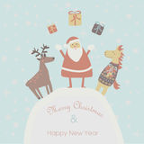 Christmas card. Christmas and Happy New Year greeting card with cute santa, deer and horse in cartoon style stock illustration