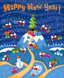 Christmas card Happy New Year. Christmas card. Happy New Year. Little Santa Clauses with wings spread gifts. Winter landscape with a Christmas tree. Several stock illustration