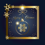 Christmas card. Happy New Year and Merry Christmas greeting card. Gold glitter snowflakes, Christmas ball, confetti, sparkle. Light effects. For Happy New Year Royalty Free Stock Photography