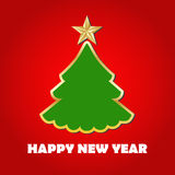 Christmas card. Happy New Year. Postcard. Christmas tree in a gold outline on a red background Stock Photo