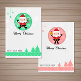 Christmas card. Christmas and happy new year card with santa Royalty Free Stock Images