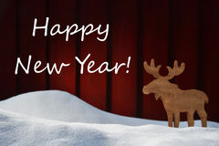Christmas Card With Happy New Year, Snow And Moose Royalty Free Stock Photo