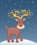 Christmas card with happy reindeer. Royalty Free Stock Photos