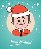 Christmas card  with happy  Santa Claus in red hat Stock Photography