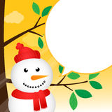 Christmas card with happy snowman Stock Photography
