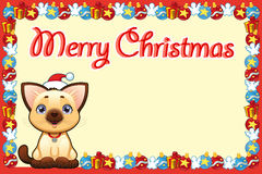 Christmas card with happy young cat Stock Images