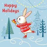 Christmas card with a hare who skates. Royalty Free Stock Image