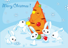 Christmas card with hares2. Christmas card with hares and a fur-tree from carrots 2 Stock Photography