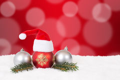 Christmas card hat red background with copyspace Stock Images