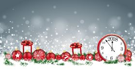 Christmas Card Header Gray Snowflakes Baubles Gifts Clock 2018. Christmas header with clock, baubles, gifts and twigs in the snow stock illustration