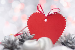 Christmas card with heart Stock Images