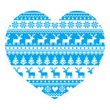 Christmas card with heart- blue Nordic, winter pattern on white Royalty Free Stock Photo