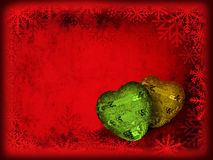 Christmas card with hearts Royalty Free Stock Photos