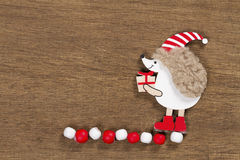 Christmas card with a hedgehog Royalty Free Stock Photo