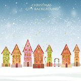 Christmas card with historical buildings. Card with historical buildings in winter Stock Image