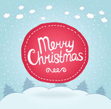 Christmas card. Holiday background with badge. Stock Photography