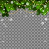 Christmas card. Holiday background with fir twigs. And snowflakes on transparent background. Evergreen tree branches border. Vector illustration, eps 10 Stock Photo