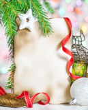 Christmas card with holiday decor Stock Photography