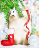 Christmas card with holiday decor Royalty Free Stock Photo