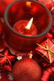 Christmas Card. Holiday decoration with starcandle,gifts and baubles Stock Photo