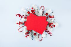 Christmas card with holiday decorations royalty free stock photo